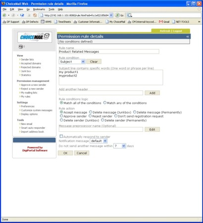 ChoiceMail Server Showing Permission Rules